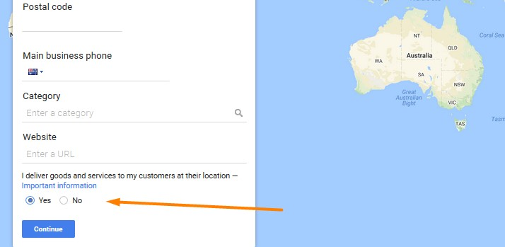 Google Business delivery method example